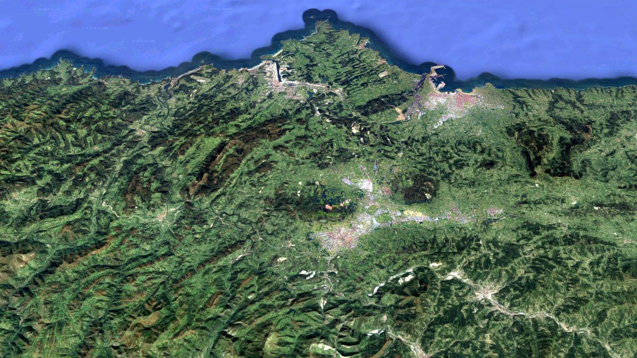 Vista aérea del campus universitario de Barredo, en Mieres, en la parte inferior derecha.Mario Suárez del Fueyo y José María Pérez