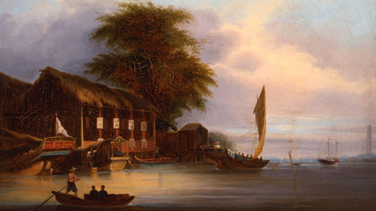 Fernando Brambila. Fragmento de «Vista del puerto de Lambao (Filipinas)»