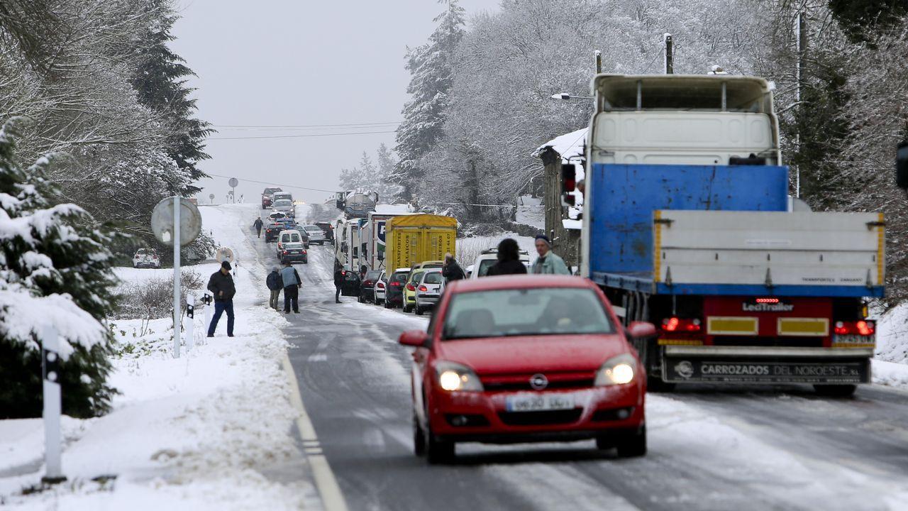 La nieve dificulta la circulación en la N-640 a la altura del kilómetro 85 provocando grandes retenciones.