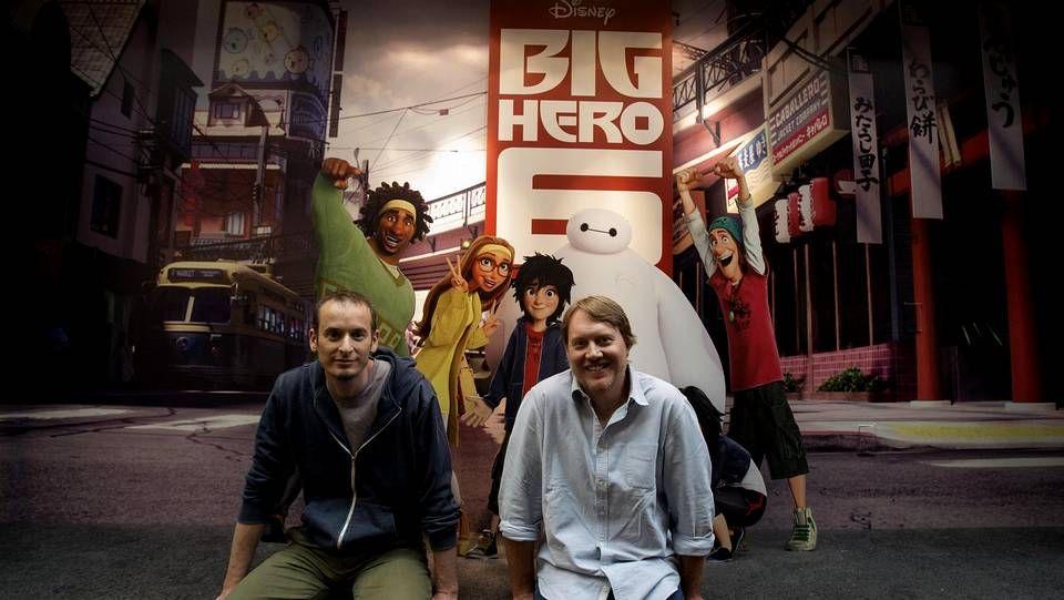 .Los directores de «Big Hero 6», uno de los estrenos dirigidos al público infantil.