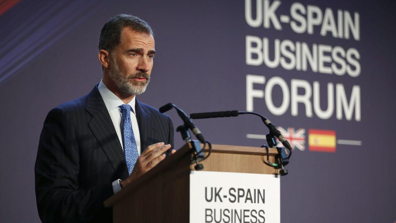 El discurso íntegro del Rey sobre Cataluña.El Rey Felipe VI en el encuentro empresarial Reino Unido-España, Londres