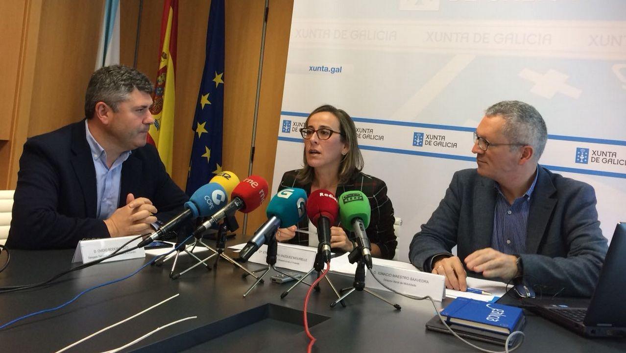 La conselleira Ethel Vázquez presenta en rueda de prensa el nuevo proyecto de la estación intermodal de Coruña.