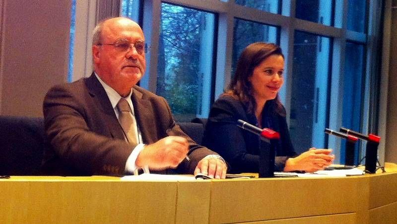Reunión de ayer en Bruselas entre Lores y Matthias Ruete (con gafas), director general de Movilidad de la UE.