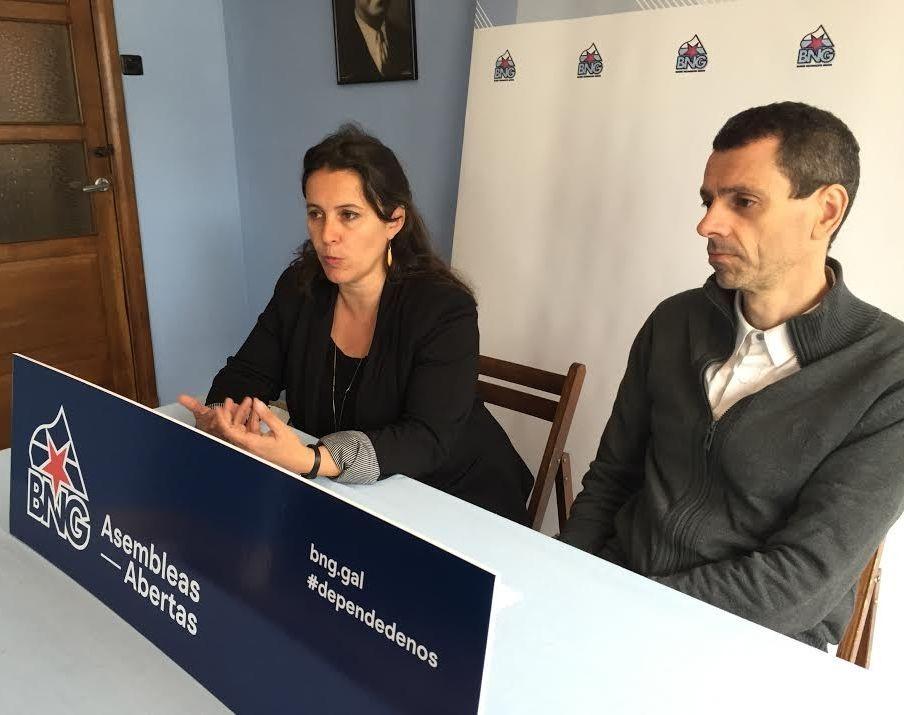 La diputada europea Ana Miranda y Xosé Magariños, ayer.