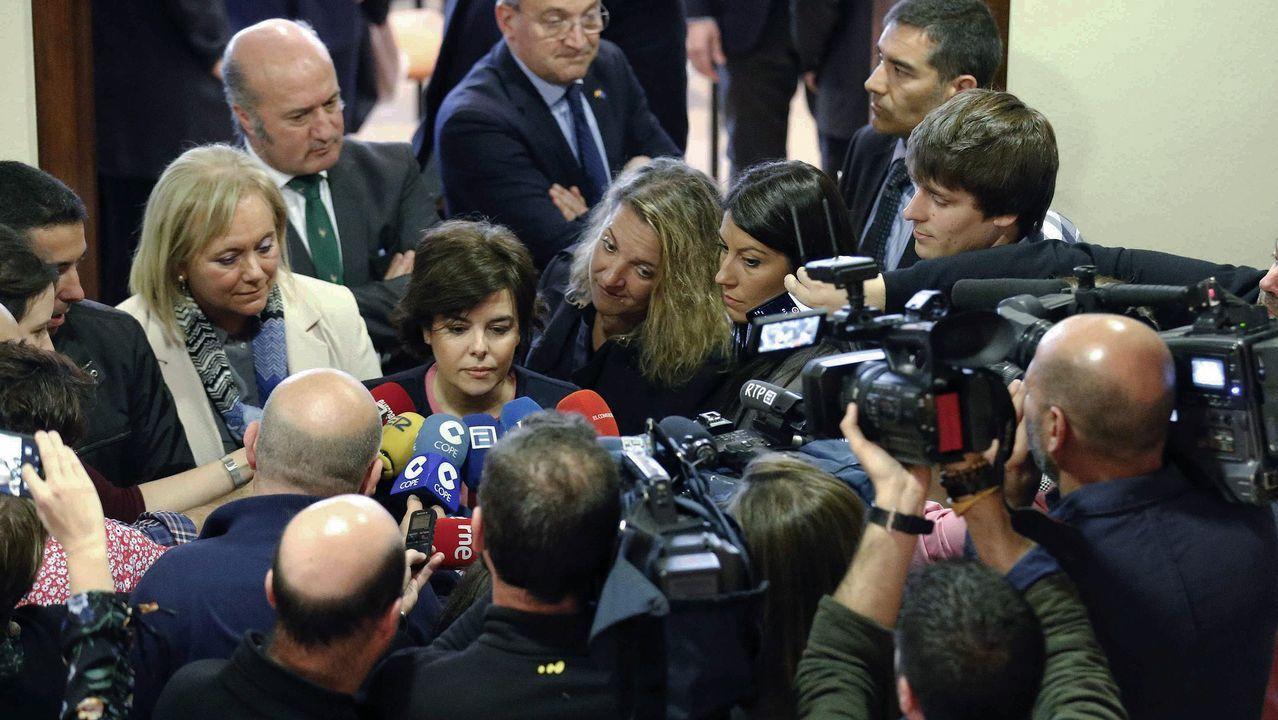 La vicepresidenta del Gobierno, Soraya de Sáenz de Santamaría, atiende a los medios de comunicación tras asistir a la toma de posesión del nuevo delegado del Gobierno en Asturias, Mariano Marín