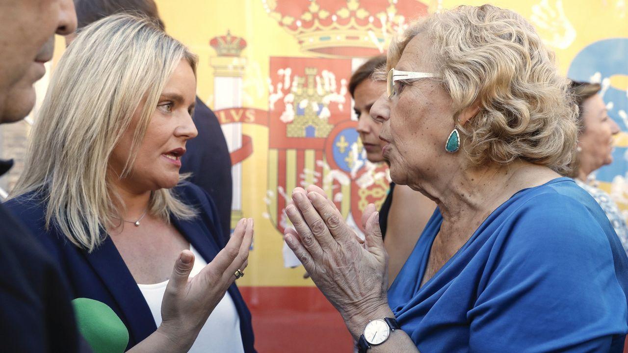Mari Mar Blanco pide a Carmena que coloque el cartel con la imagen de su hermano.Ignacio González, a su llegada esta mañana a la Audiencia Nacional
