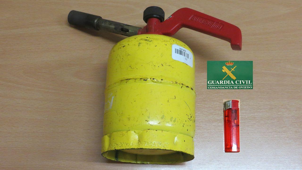 .Bombona de camping-gas con la que uno de los detenidos iniciaba incendios forestales