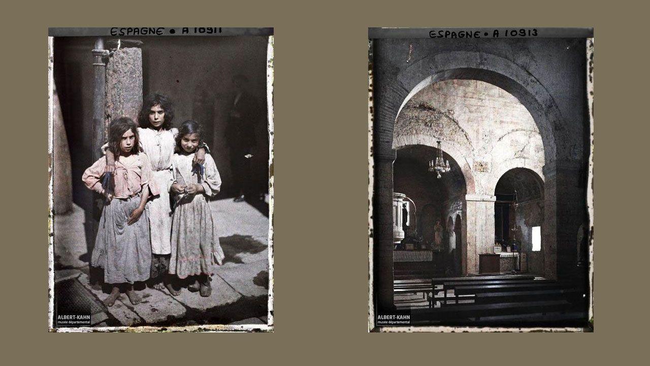 Tres niñas gitanas e interior de Santullano