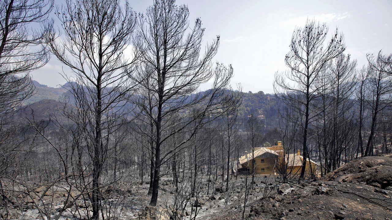 Vista de una de las viviendas afectadas por el incendio forestal de Llutxent en la zona de la Marxuqera (Gandía).