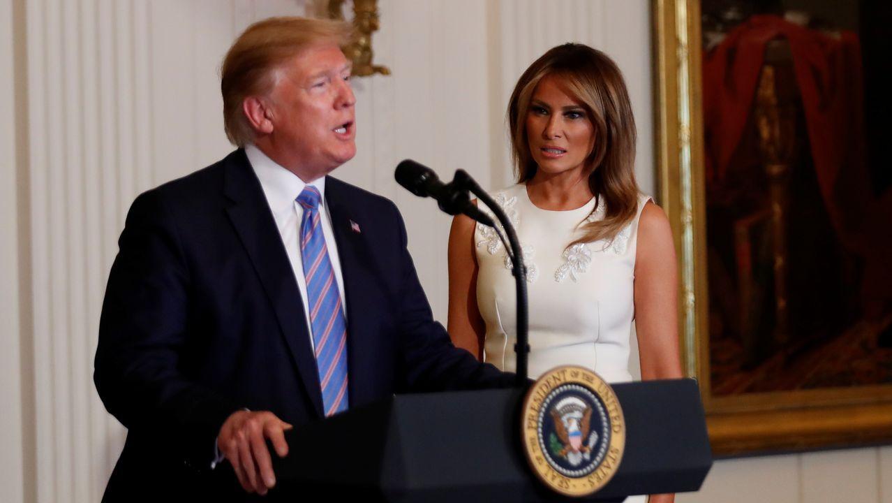 Trump, durante un homenaje organizado por la primera dama, Melania Trump, a las esposas y a las madres de los militares, el viernes en la Casa Blanca.