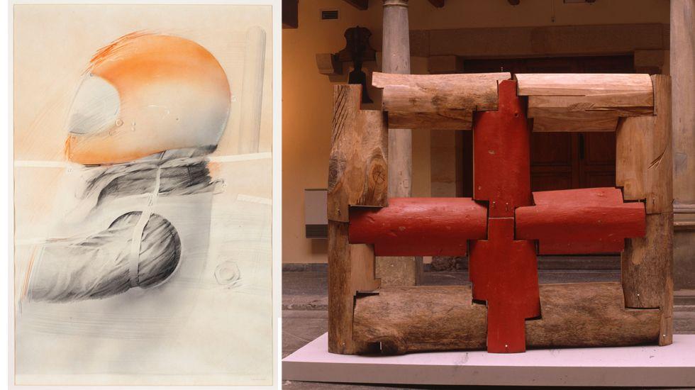 Dibujo de Navascués y escultura de Pablo Maojo