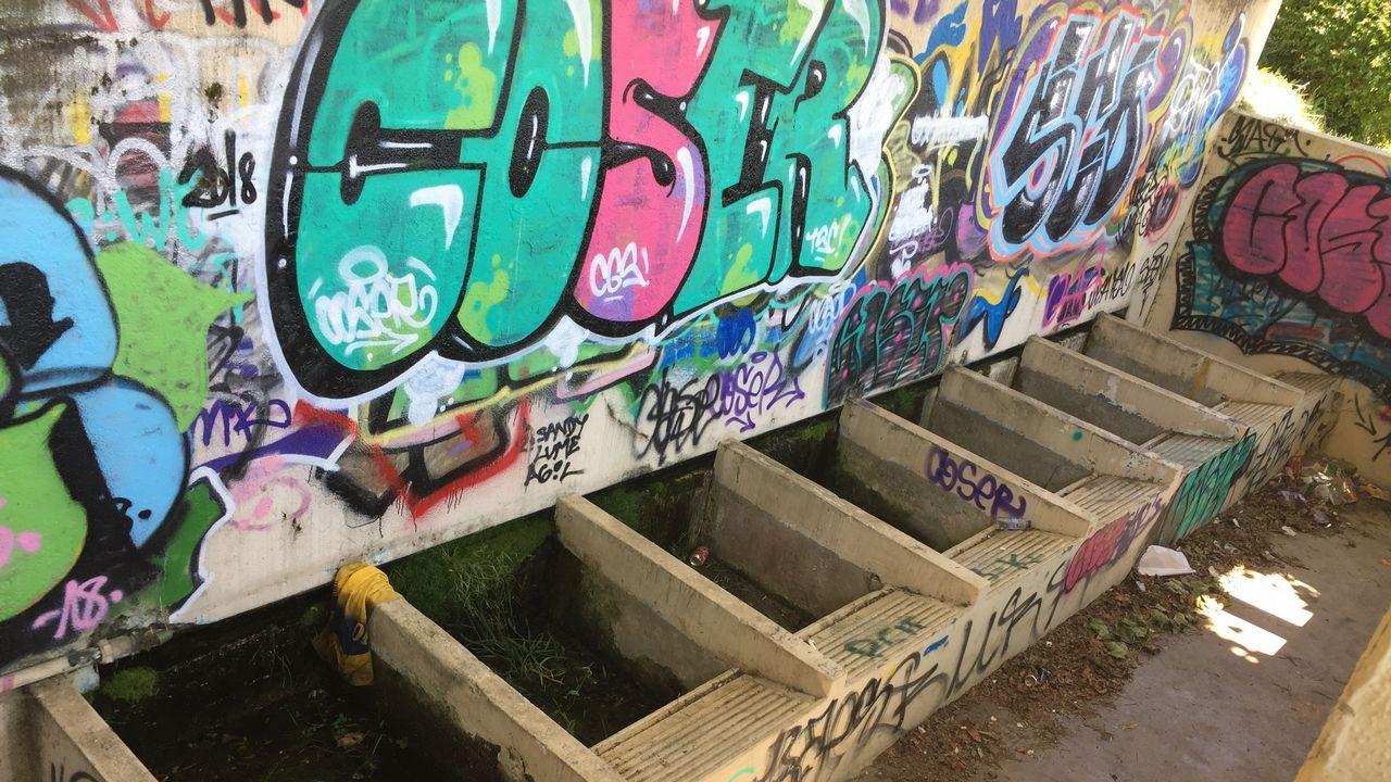 La imagen más llamativa del parque de Sadarriba es el estado del antiguo lavadero, pasto de los vándalos, los ladrones y los grafiteros.