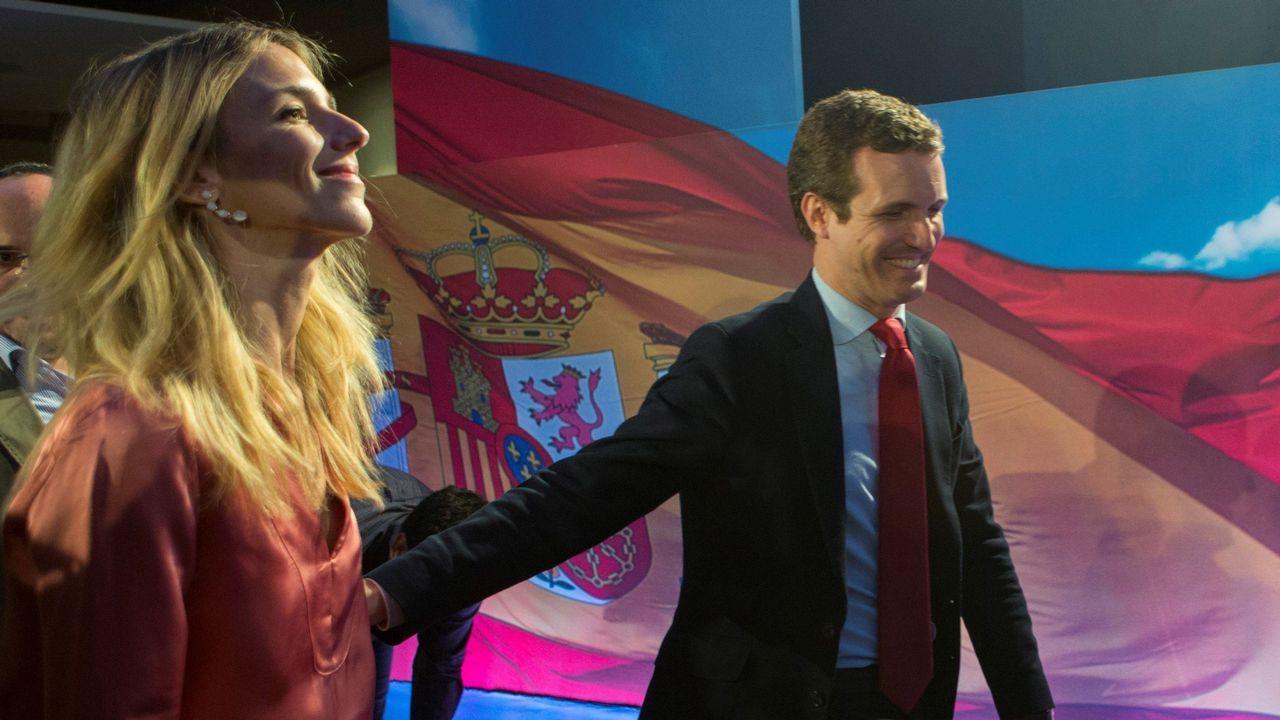 Cayetana Álvarez de Toledo y Pablo Casado, en un acto electoral en Barcelona