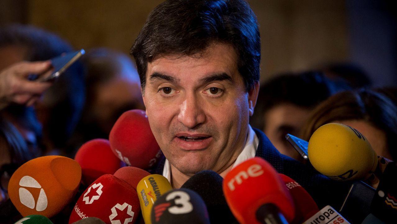 .El portavoz de ERC, Sergi Sabrià, en una rueda de prensa el pasado mes de enero