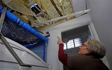 Carmen Rey muestra el lugar por el que entraron los cacos.