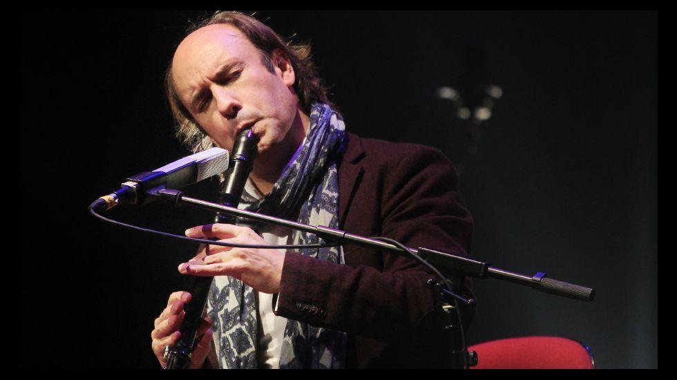Carlos Núñez, esta semana, durante la presentación del concierto