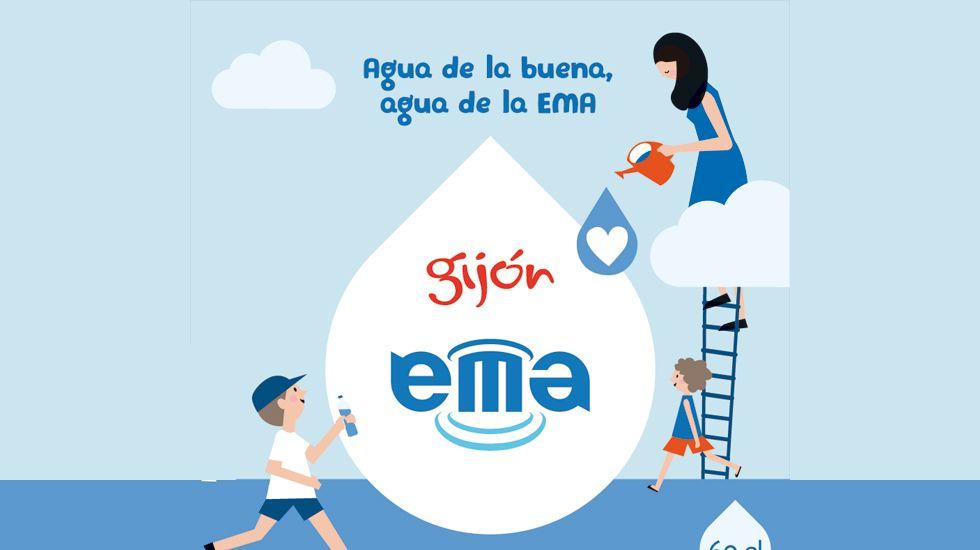 Supuestos vertidos en la costa de Gijón y Villaviciosa por la rotura del emisario de Peñarrubia.Etiqueta publicitaria del agua de la EMA embotellada