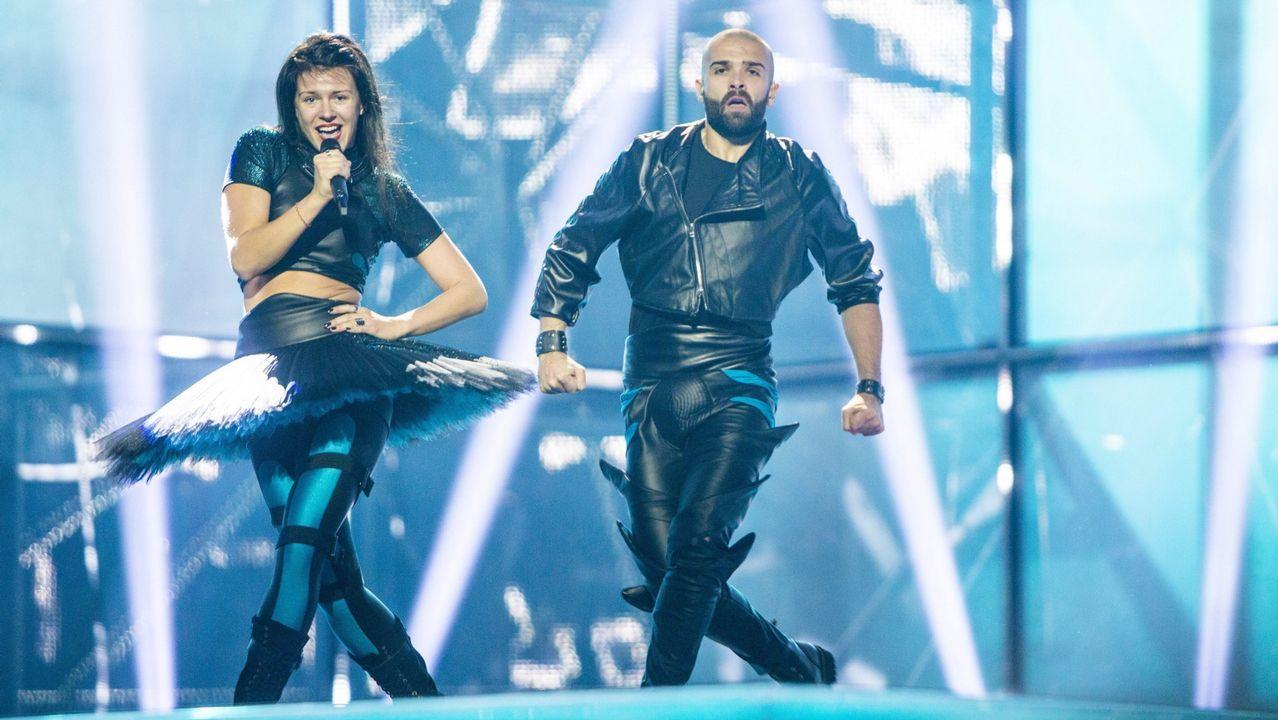 Difícil de describir el atuendo de Vilija Mataciunaite en Copenhague en su actuación de Eurovisión