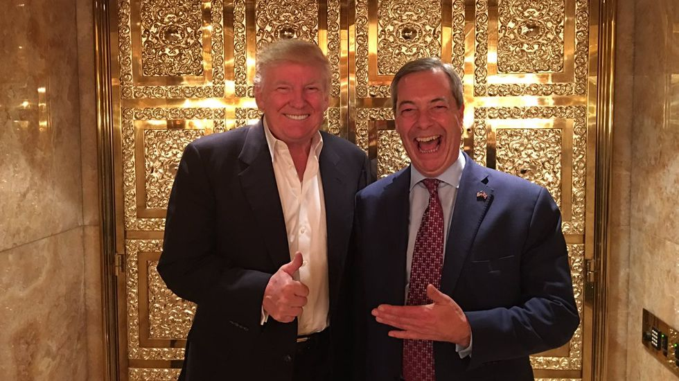 .Donald Trump y Nigel Farage en la Trump Tower de Nueva York