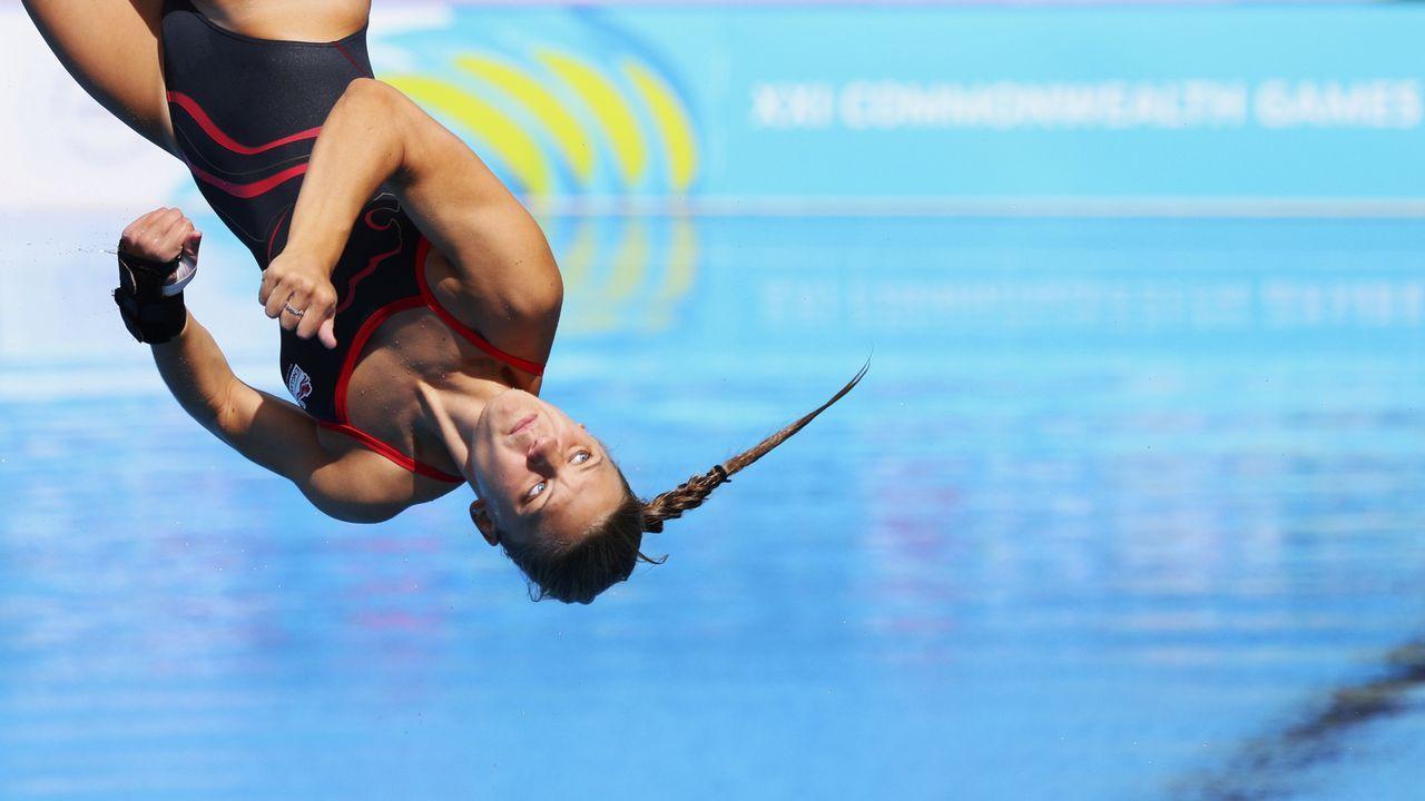 Salto de la británica Alicia Blagg durante los Juegos de la Commonwealth, en Gold Coast