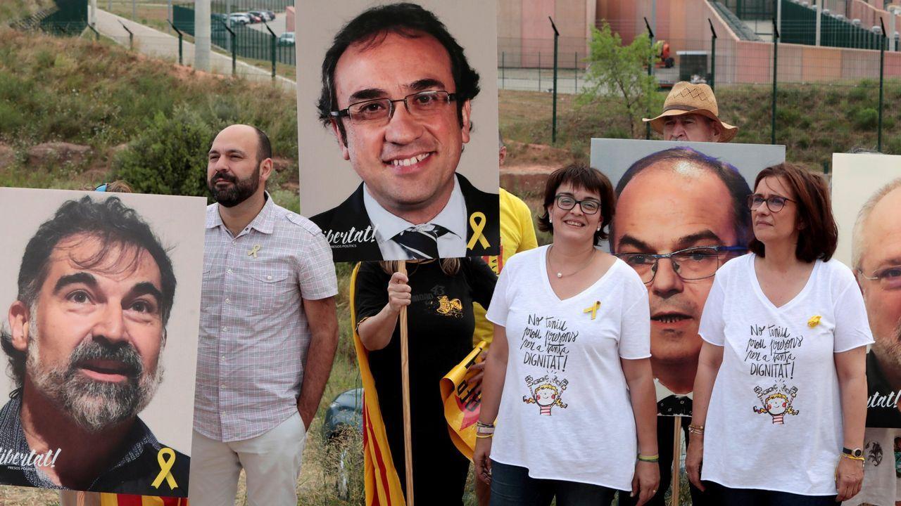 .Protesta ante el centro penitenciario de Lledonerrs, en Sant Joan de Vilatorrada, donde están los presos soberanistas, el pasado 11 de julio