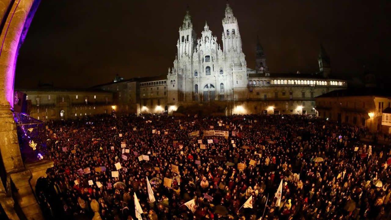 Movilizaciones en Monforte, el pasado mes de marzo, con motivo del día de la mujer
