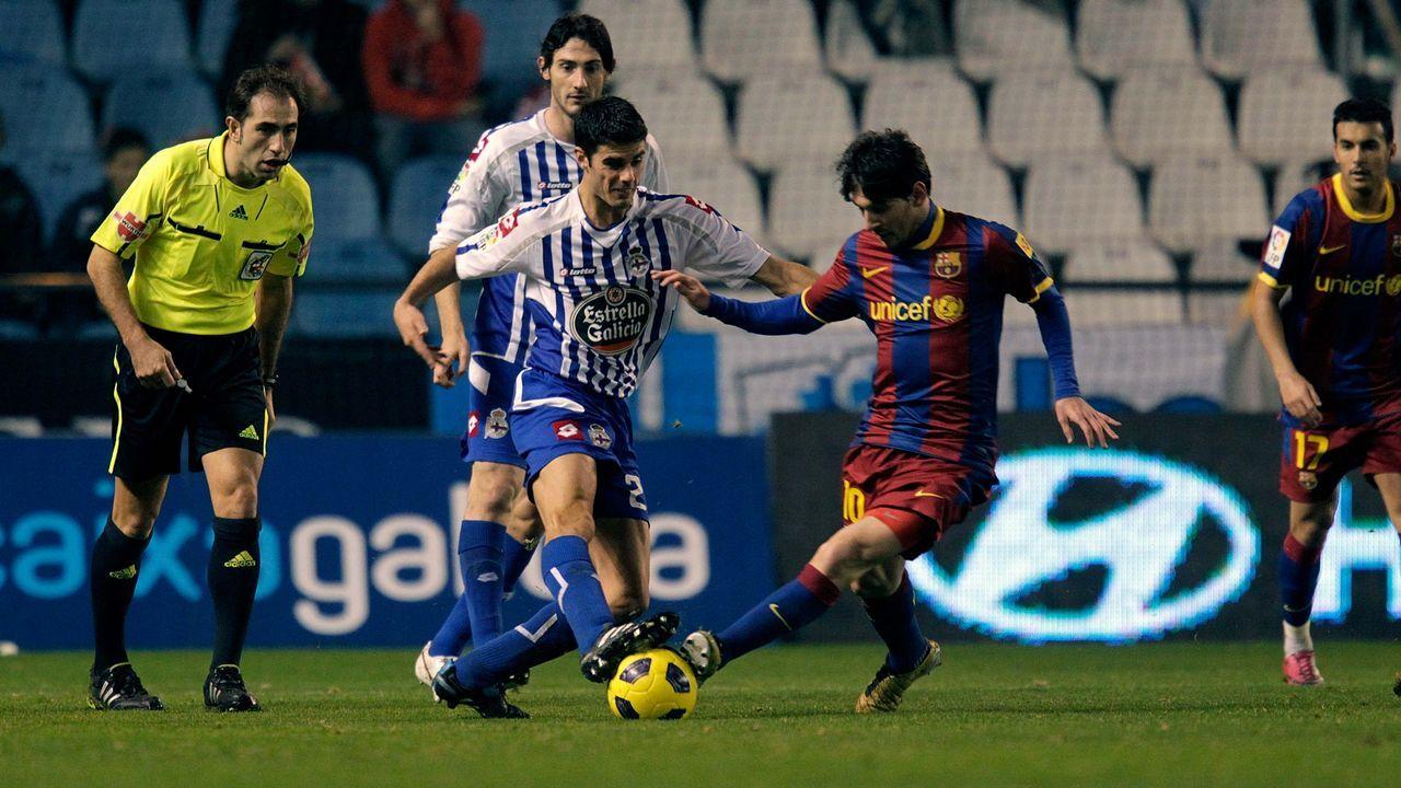 Juan Domínguez y Leo Messi