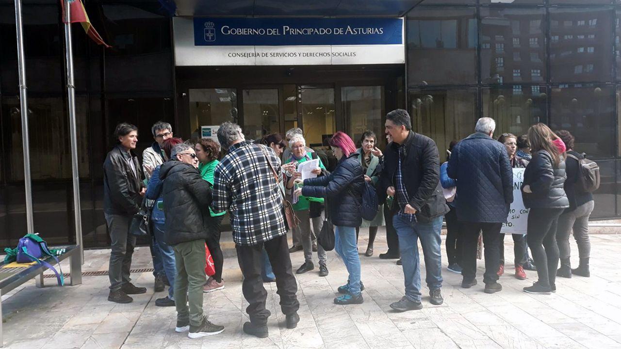 Bebé pie mano.Varios integrantes de las Plataformas de Afectados por la Hipoteca de Asturias reunidos esta mañana frente a la entrada de la Consejería de Servicios y Derechos Sociales