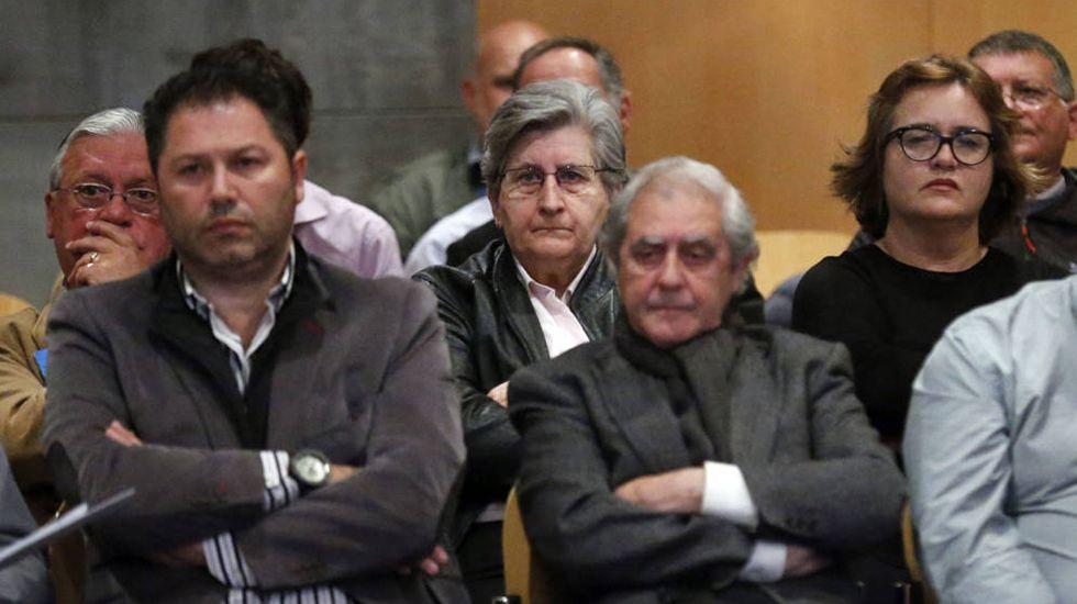 .Los principales involucrados del caso Marea, durante el juicio. En el centro, los dos altos cargos de la Consejería de Educación, María Jesús Otero y José Luis Iglesias Riopedre