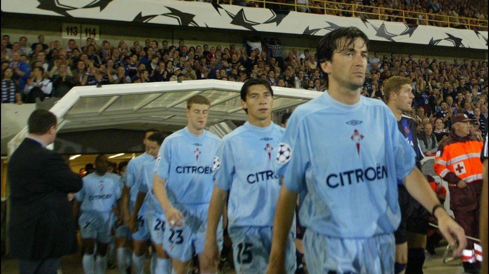 Recuerda con especial cariño la participación en Champions que vivió con el club. En la imagen, en el Brujas-Celta de septiembre del 2003.