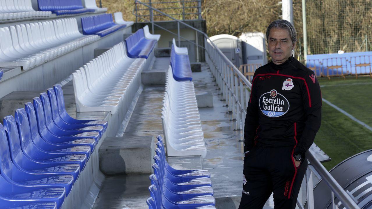 Gerard Valentín entrenando con el Deportivo