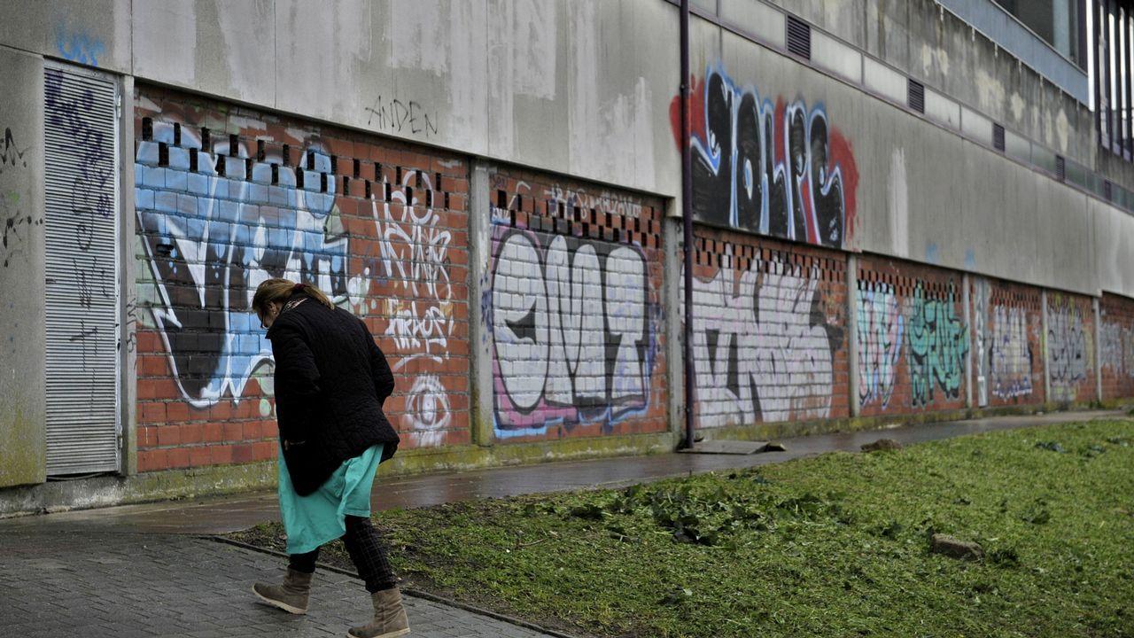 Basura sin recoger en las calles de A Coruña.Pintadas Oleiros