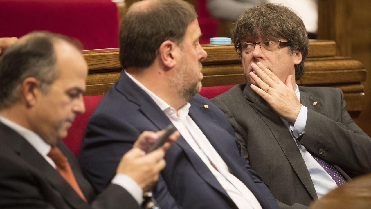 Turull junto a Junqueras y Puigdemont
