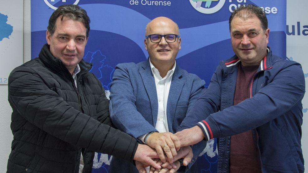 Guerrero, a la derecha, con Juan Carlos González y José Manuel Baltar