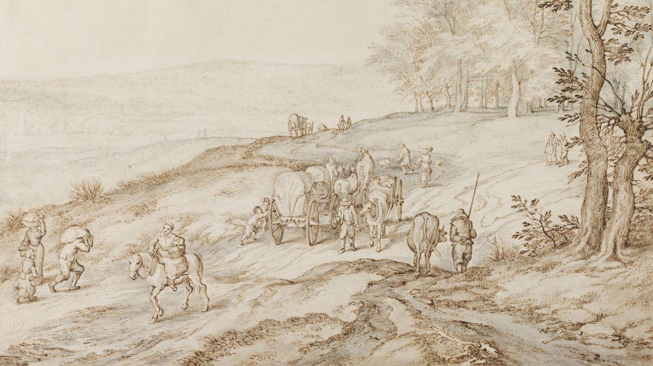 «Viajeros en una carretera al borde de una colina con bosque a la derecha», atribuido a Jan Brueghel el Viejo
