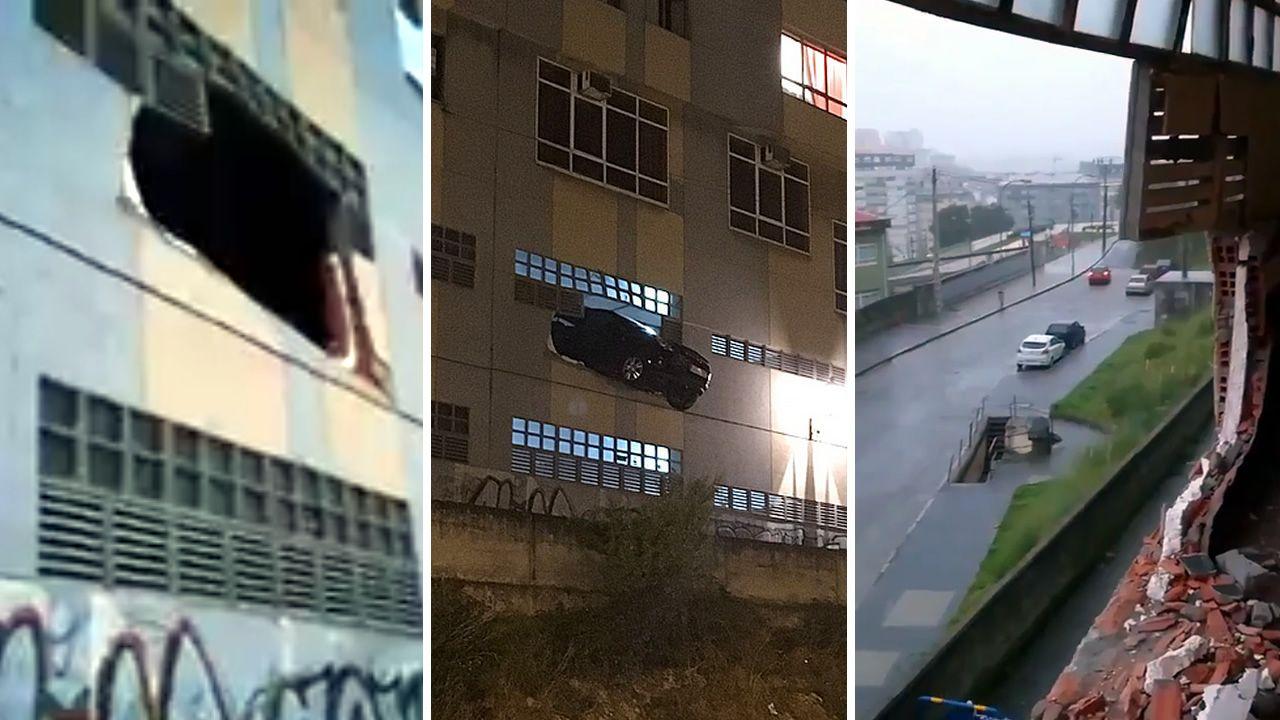 Un coche se empotra contra un muro y queda suspendido sobre la calle en A Coruña.Lugar de la calle Antonio Pedreira Ríos donde mataron a un hombre de una puñalada esta madrugada