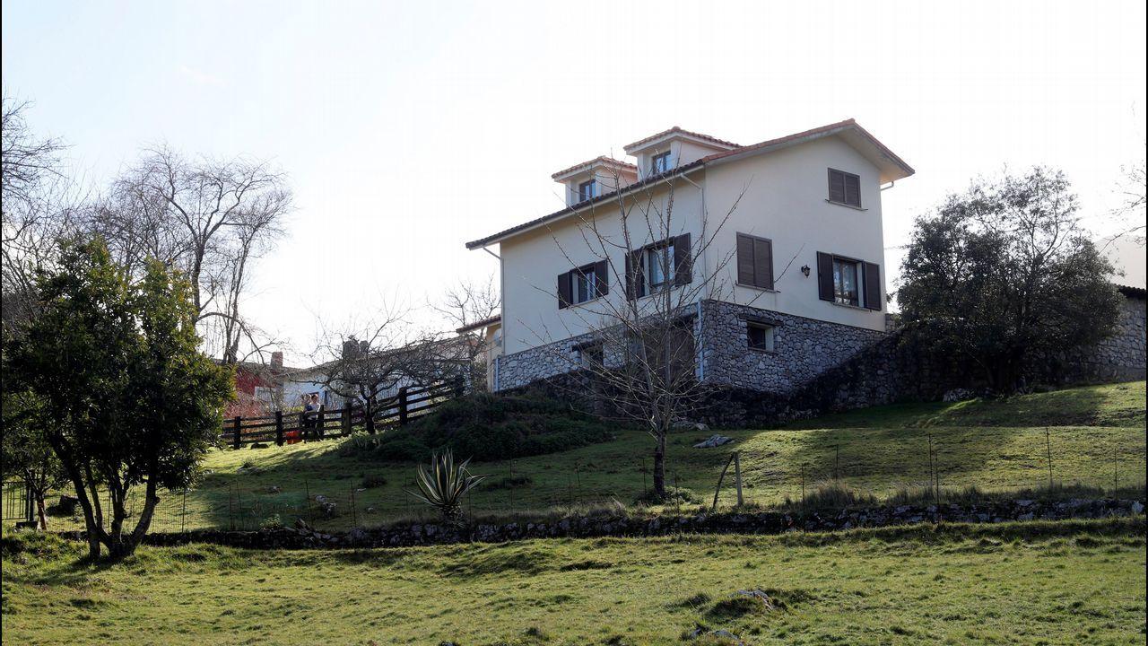 Perros enjaulados.Vista general de la vivienda del concejal asesinado el pasado mes de agosto Javier Ardines