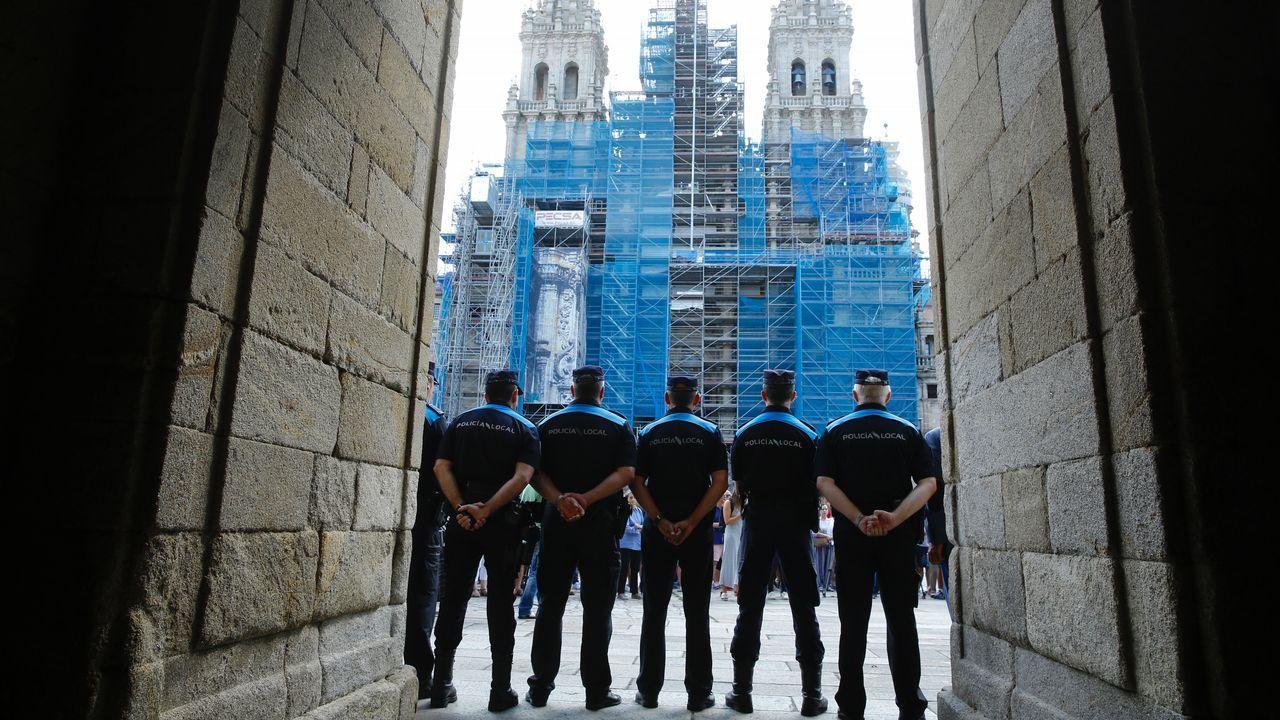 .Fuerzas de seguridad en la Plaza del Obradoiro