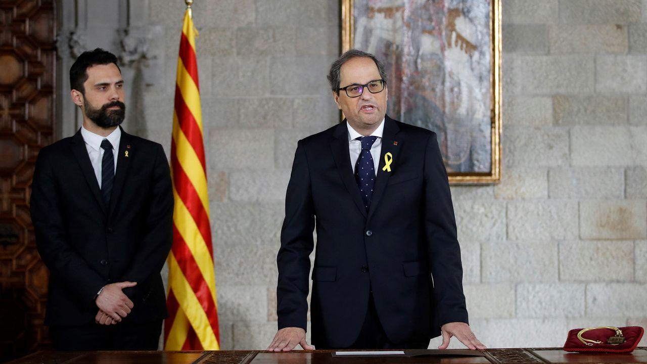 Macrooperación en Cataluña contra una trama de desvío de fondos destinados a cooperación.La eurpdiputada Ana Miranda atiende a la prensa tras el encuentro con Puigdemont
