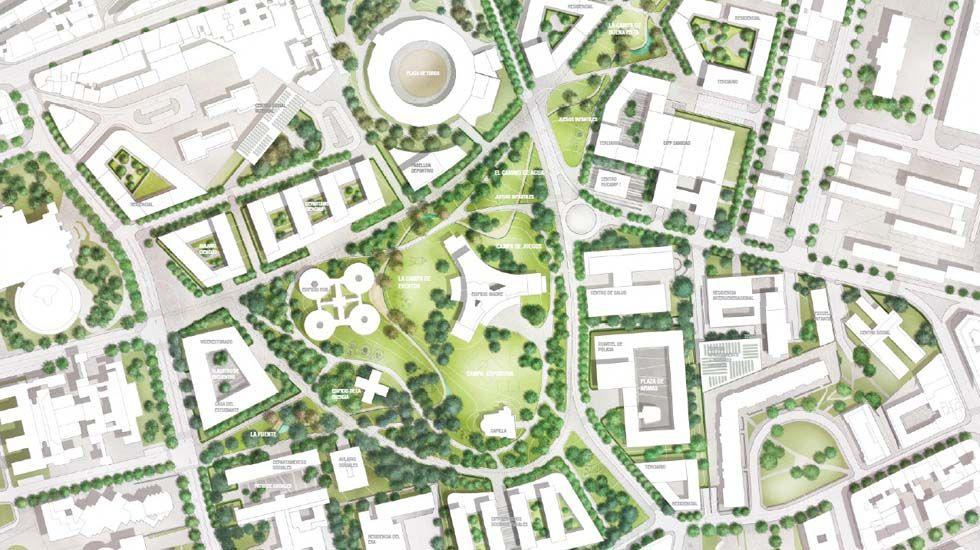 Así seráel futuro Central Park de Oviedo.El director de la a Fundación para la Investigación Biosanitaria de Asturias (FINBA) muestra la tecnología a una delegación de Sudán
