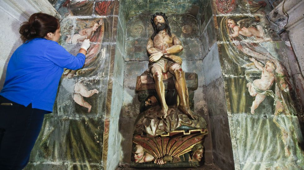 Seis valiosos ángeles estuvieron en la catedral ocultos detrás de un retablo