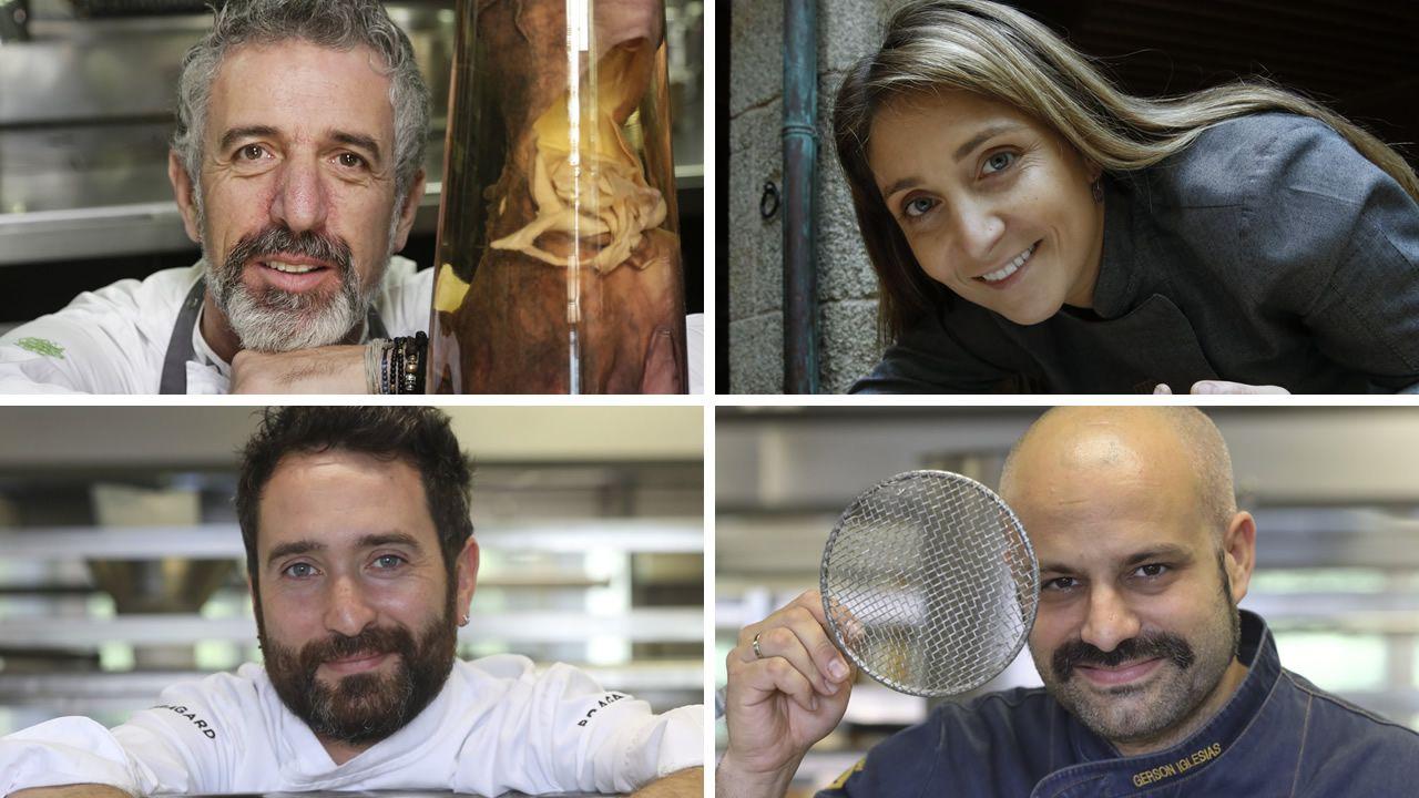 Los cocineros Martín Berasategui y Jordi Cruz, de cena en Negreira.La Gruta, Oviedo