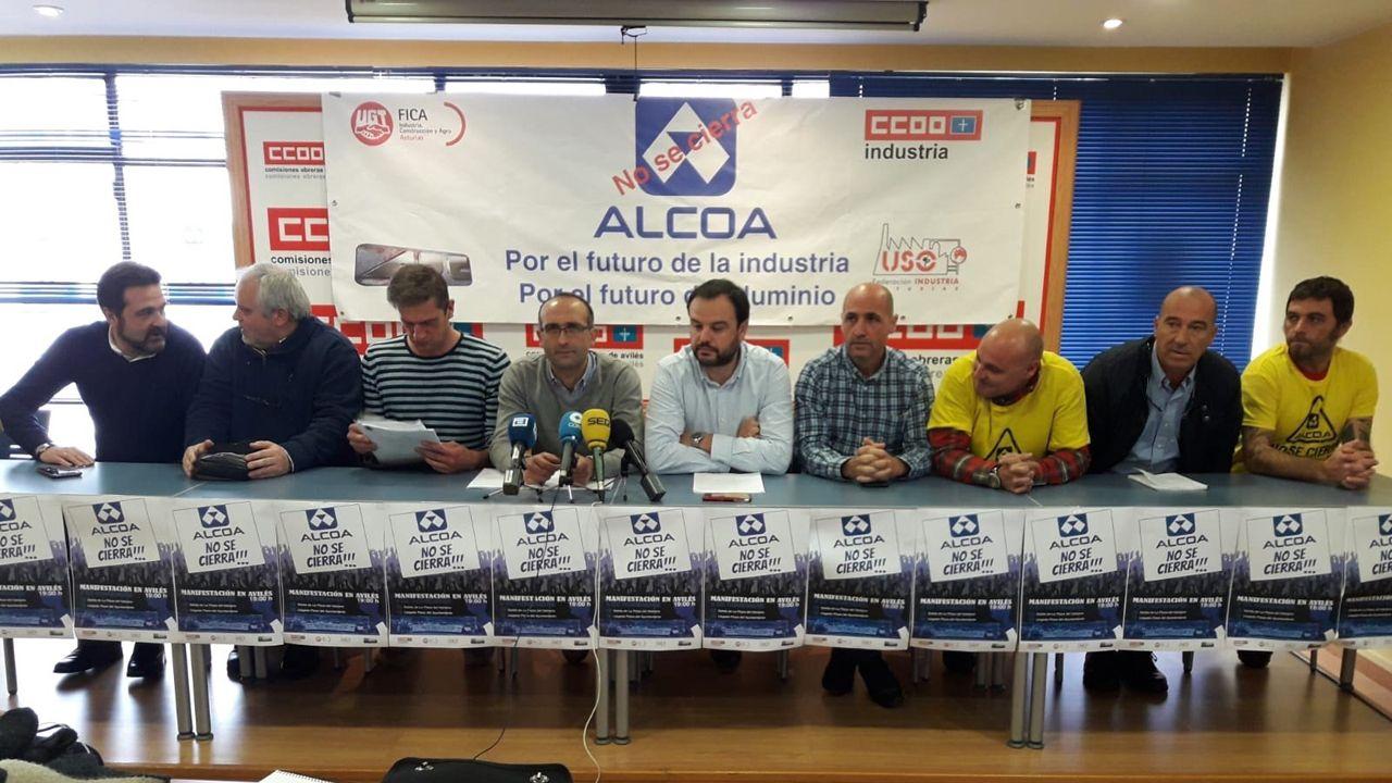 Los sindicatos en durante la rueda de prensa