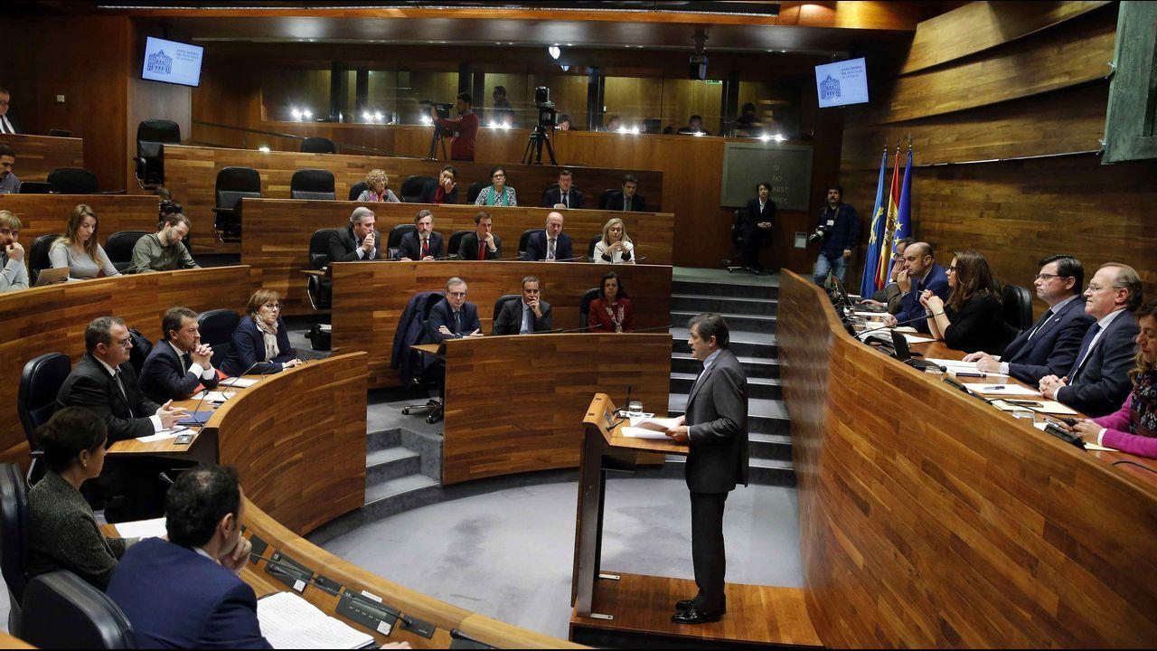 El presidente del Principado, Javier Fernández, esta mañana durante su intervención en la primera jornada del debate de orientación política general que se celebra en la Junta General del Principado