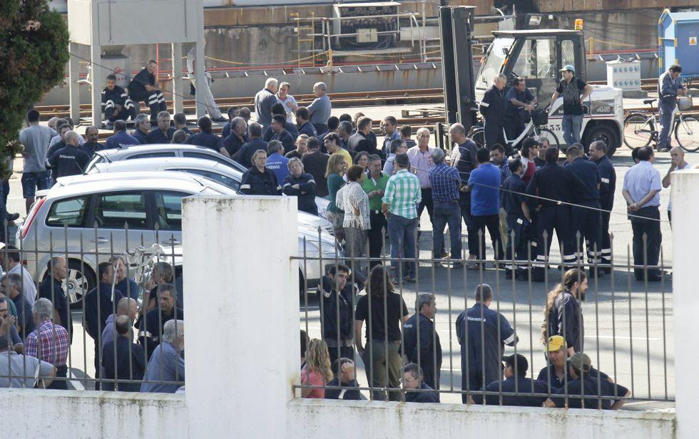 Trabajadores movilizándose en el astillero ferrolano el día de la firma del convenio.