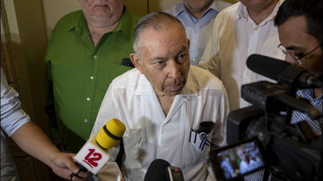 El antiguo embajador nicaragüense en Estados Unidos y jefe de la delegación opositora Alianza Cívica por la Justicia y la Democracia, Carlos Tünnermann, tras la última reunión  en Managua