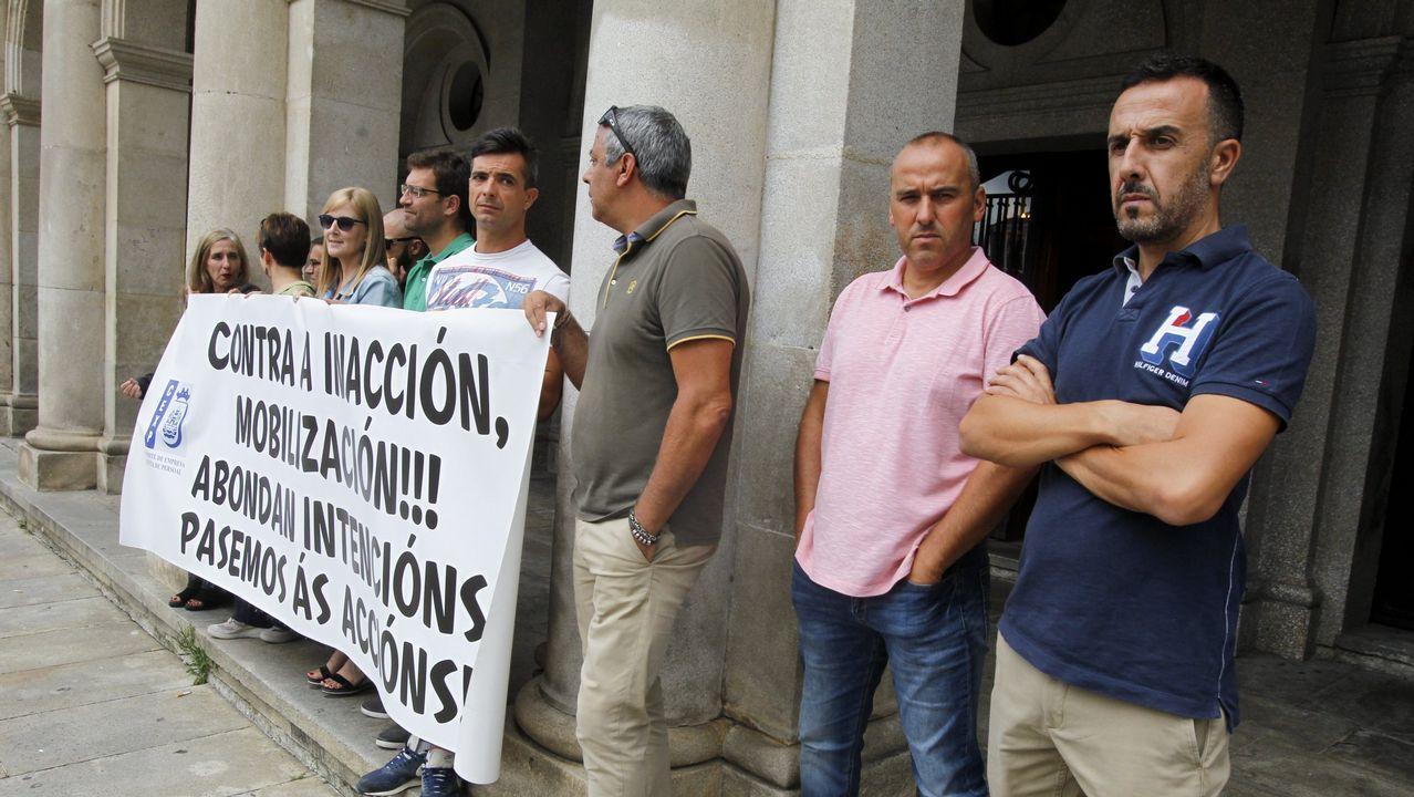 Alto seguimiento de la huelga en la prisión de A Lama.Imagen de la manifestación de los funcionarios de Justicia en Madrid