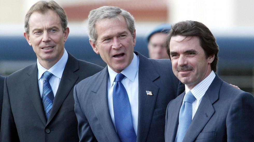 Imagen de archivo (2003). Blair, Bush y Aznar.