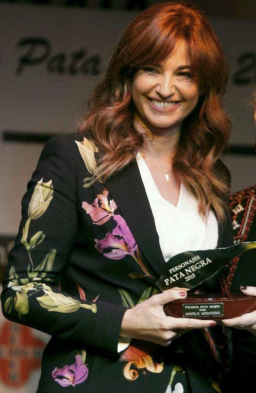 Mariló Montero, recogiendo el premio Pata Negra.