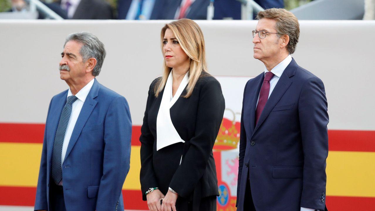 Desfile del Dia de la Fiesta Nacional: Miguel Ángel Revilla, Susana Díaz y Alberto Núñez Feijoo